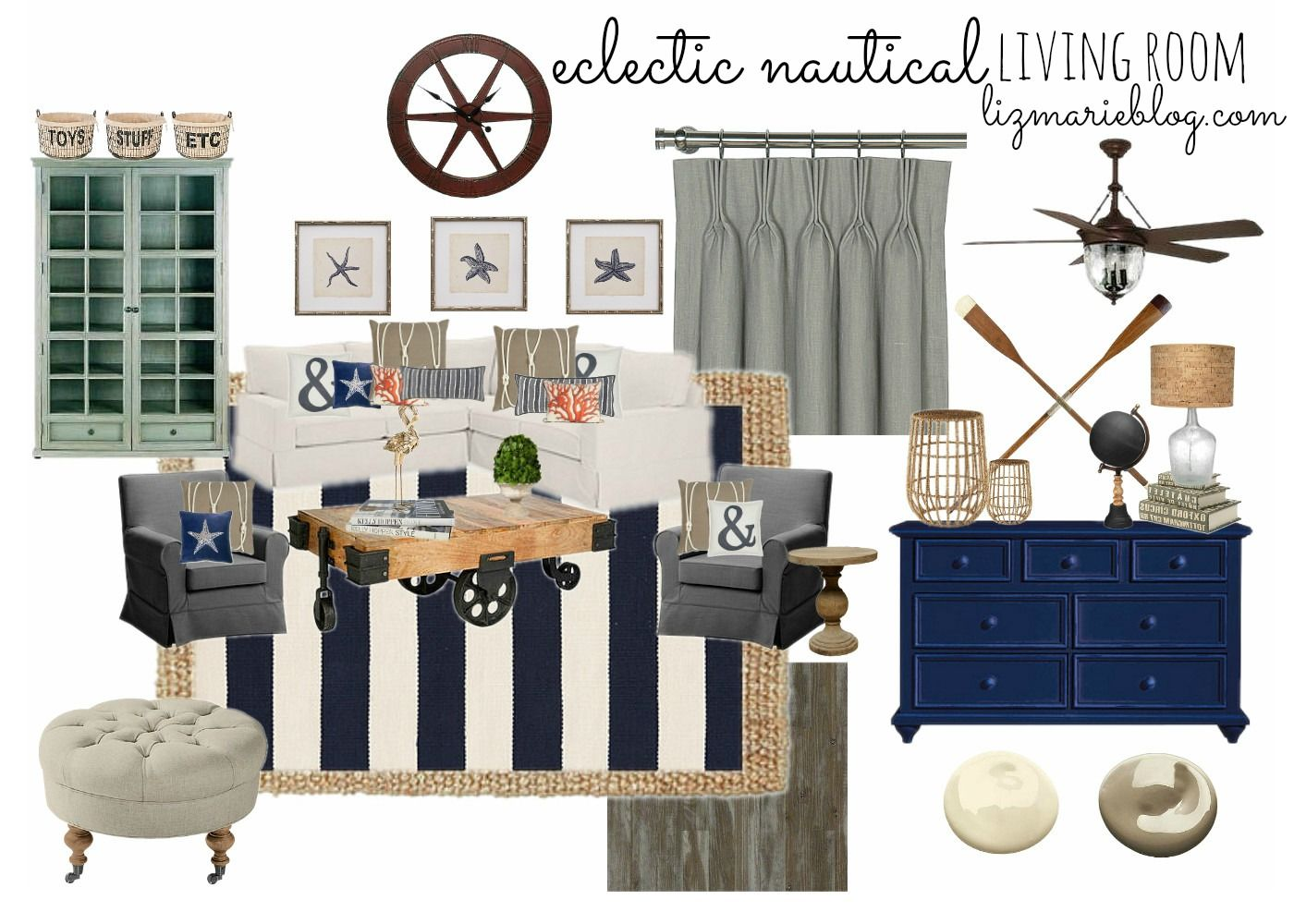 Eclectic Nautical Living Room | Living rooms, Room and House
