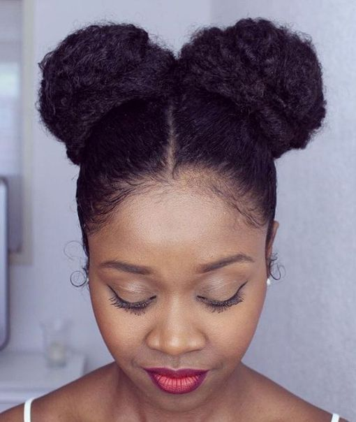 Two Buns Updo For Natural Hair Natural Hair Styles Hair Styles Long Hair Styles