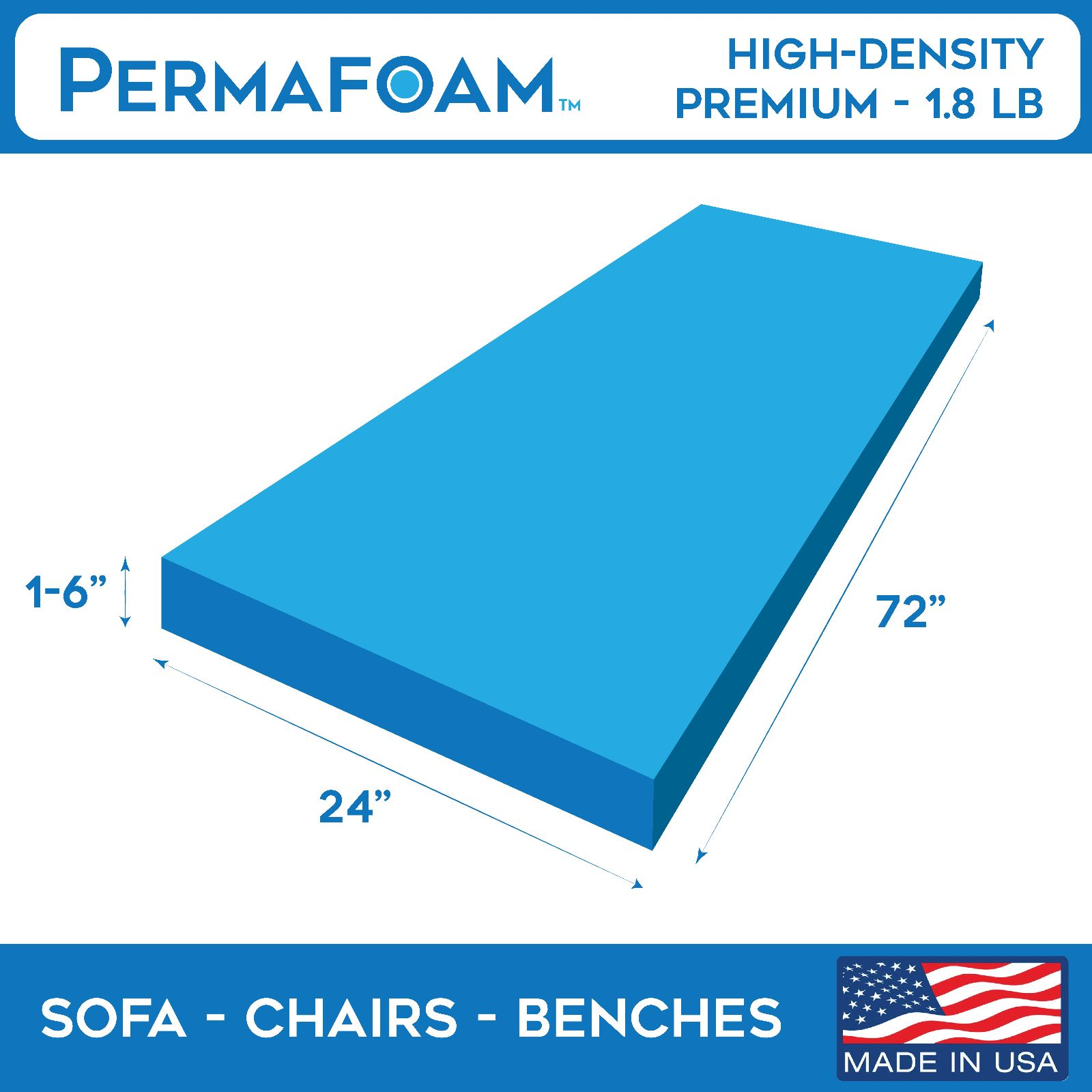 Foam Sheets 8434 Upholstery Cushion 24 X 72 High Density Couches Sofas Benches Chairs It Now Only 55 45 On Ebay