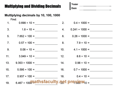 Preview Of Multiplying And Dividing Decimalsa Basic Drill Sheet