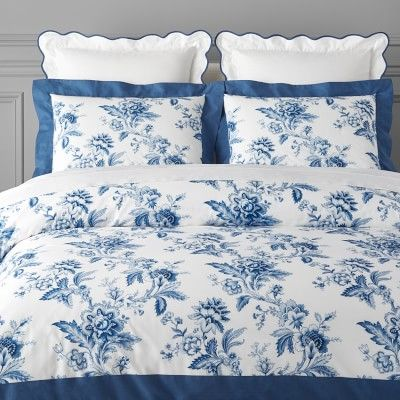 AERIN Fairfield Organic Printed Bedding, Full/Queen, White/Blue in
