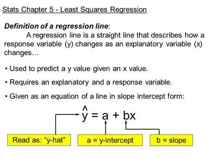 Y A Bx Stats Chapter 5 Least Squares Regression Linear Relationships High School Math Regression