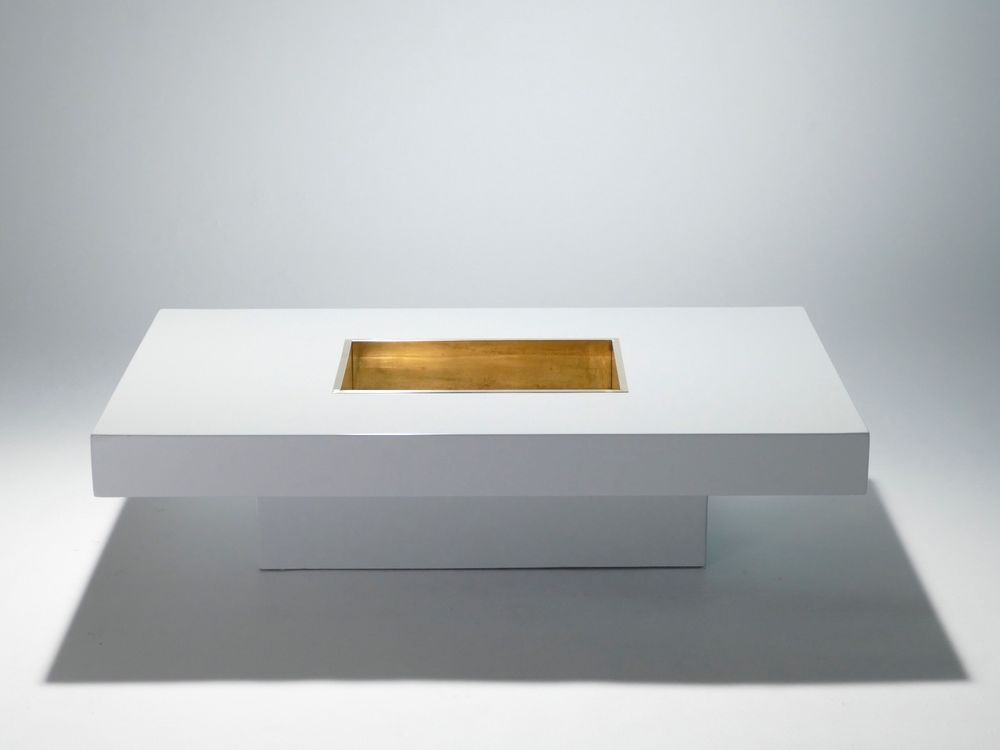 Table Basse De Willy Rizzo Laquee Laiton 1970 Haus