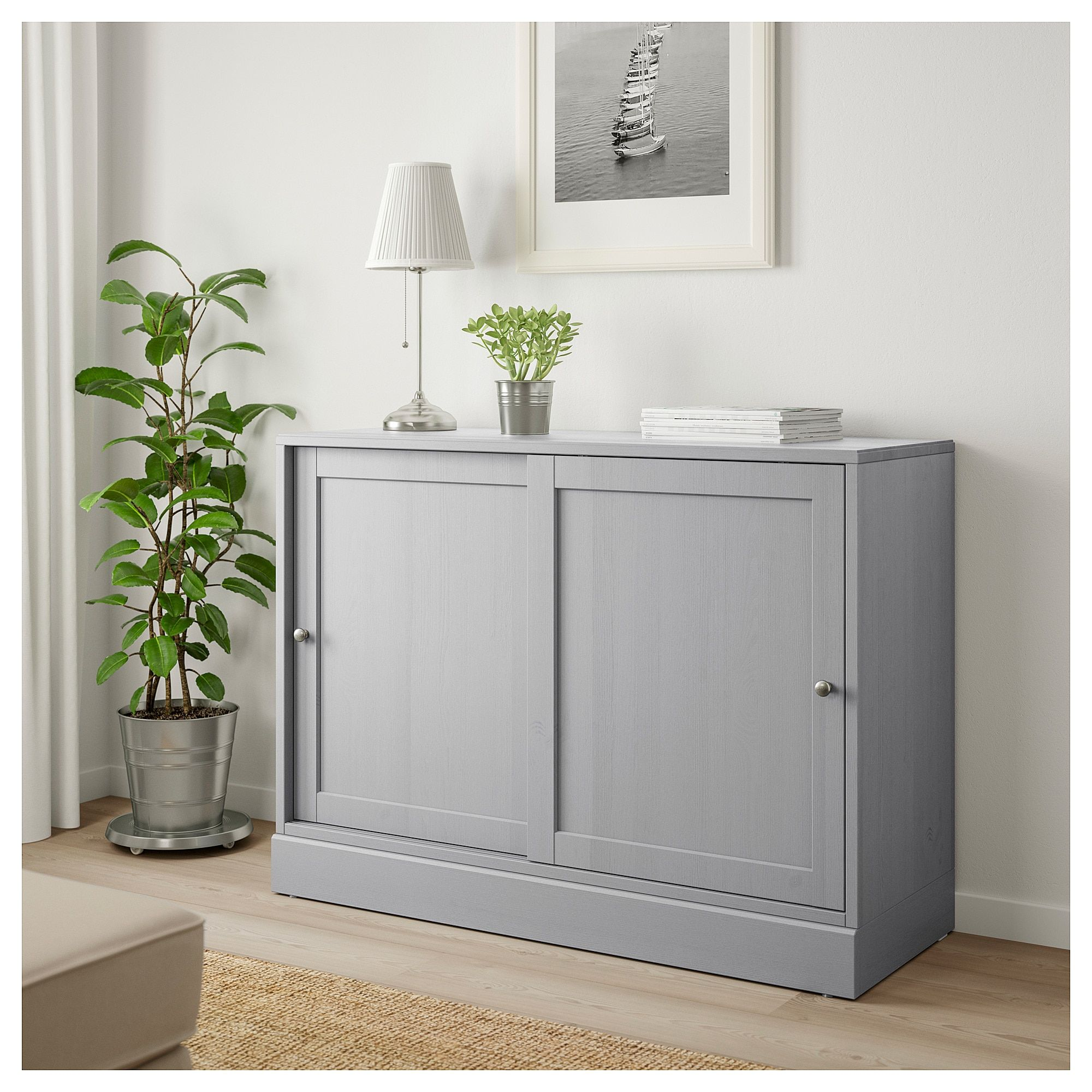 Havsta Cabinet With Base Gray Shop Here Ikea Ikea Cabinet Movable Shelf
