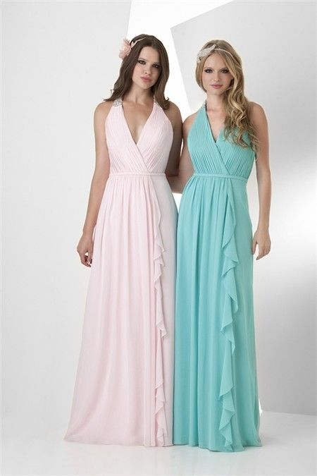 A Line Halter Long Turquoise Chiffon Ruffle Wedding Guest Bridesmaid ...