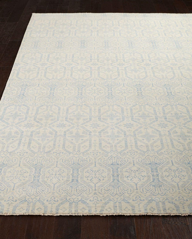 Atley Knots Rug, 9' x 12', Ivory/Blue