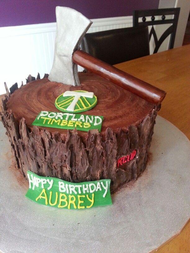 Excellent Portland Timbers Birthday Cake Stump Cake With Ax Log Cake Birthday Cards Printable Giouspongecafe Filternl