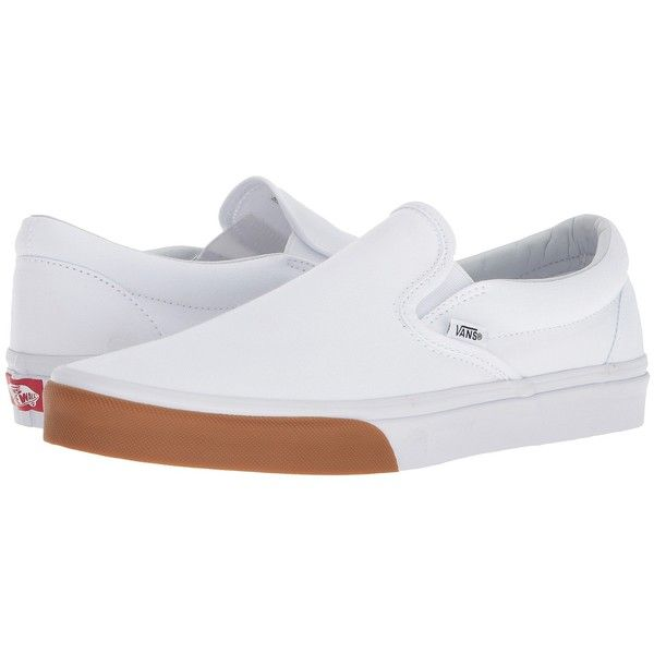 Vans Classic Slip-Ontm ((Gum Bumper) True White/True White) Skate...  (142.440 COP) ❤ liked on Polyvore featuring shoes, sneakers, white slip on  sneakers, ...