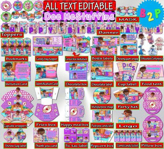graphic relating to Doc Mcstuffins Printable Invitations identify Document McStuffins Birthday Celebration Package, Document McStuffins Decoration