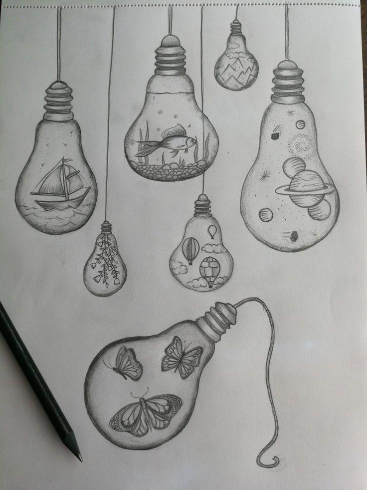 Light Bulb Drawings In 2020 Art Drawings Simple Light Bulb Drawing Cool Art Drawings