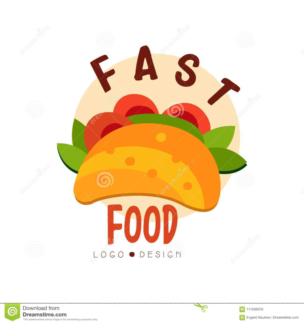 Fast Food Logo Design Badge With Tacos Sign Mexican Fast Food Menu Vector Illustration On A White Background Stock Food Logo Design Fast Food Logos Logo Food