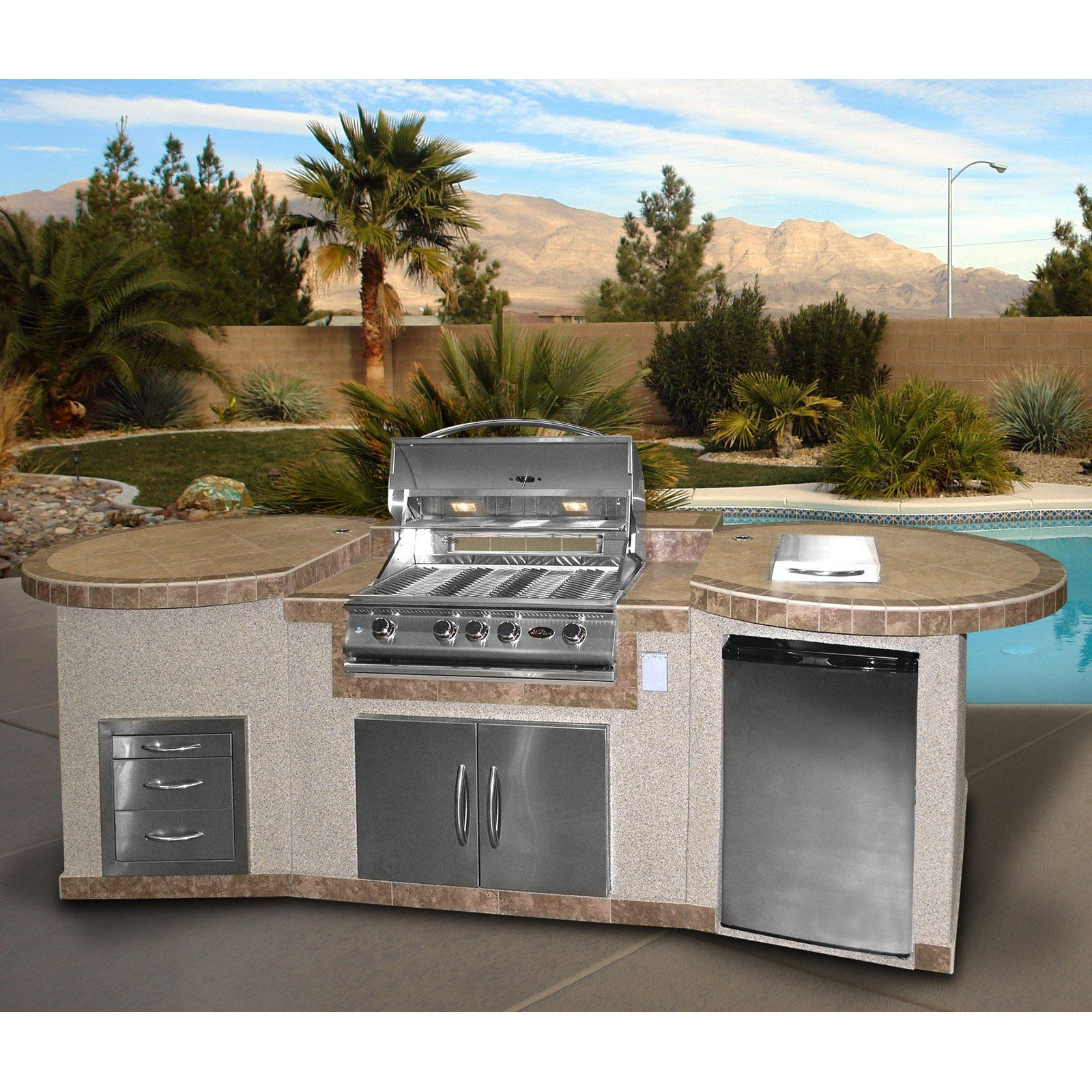 Cal Flame 3 Piece Bbq Island With 4 Burner Natural Gas Bbq Grill Outdoor Kitchen Island Bbq Island Natural Gas Bbq Grill