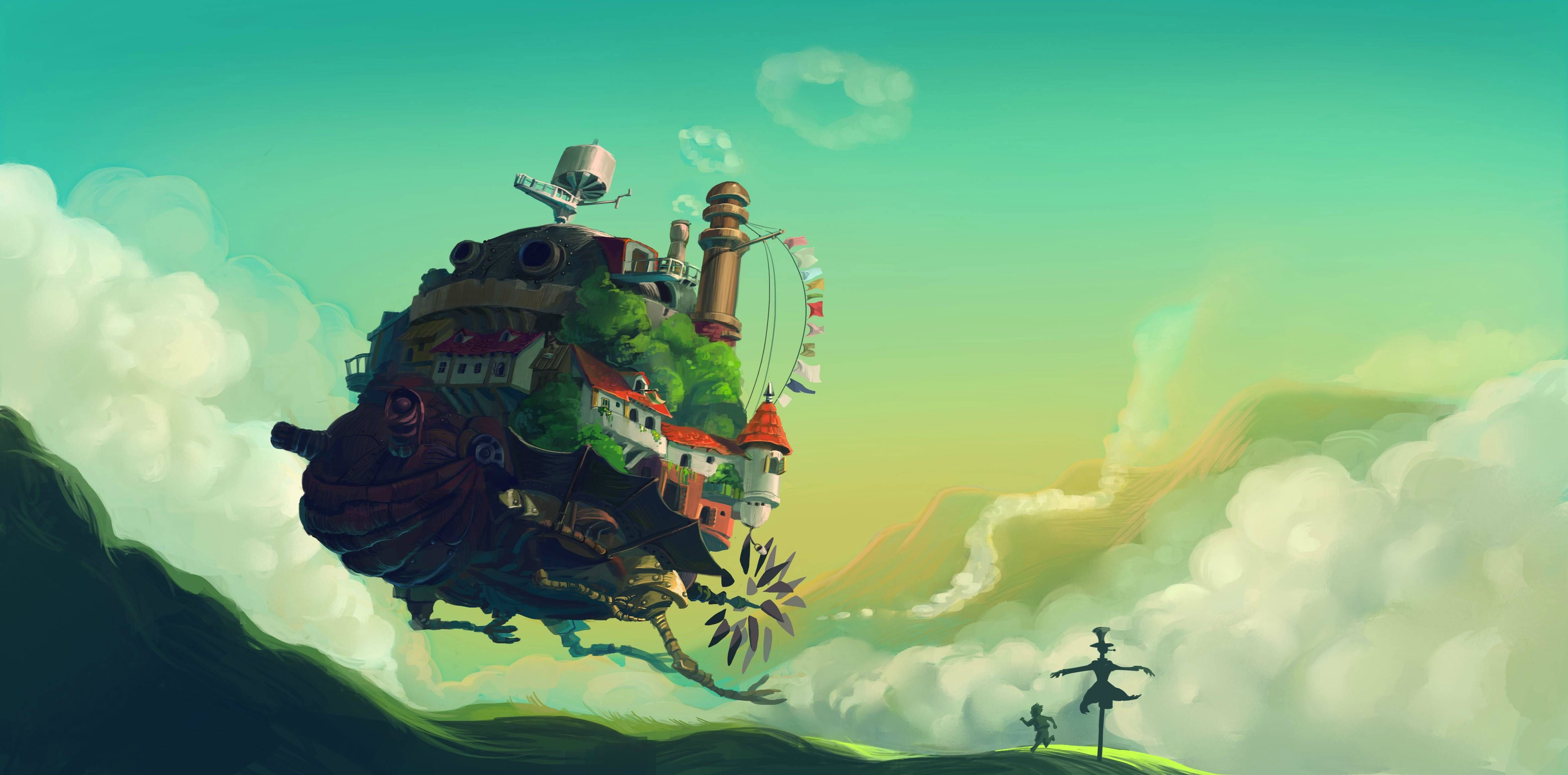 Studio Ghibli Wallpaper 4691x2319 Howls Moving Castle Art Howls Moving Castle Wallpaper Howl S Moving Castle