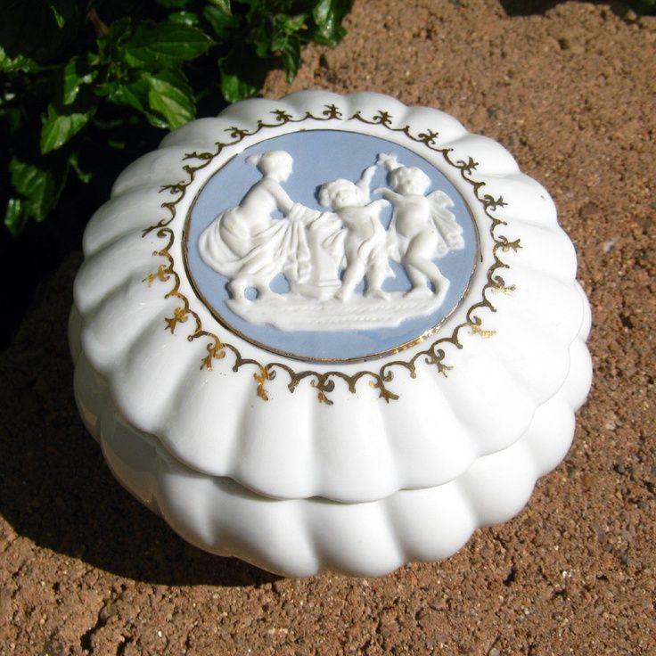 Vintage Porcelain Boxes   Vintage #trinket #box, white ceramic porcelain box with a cameo