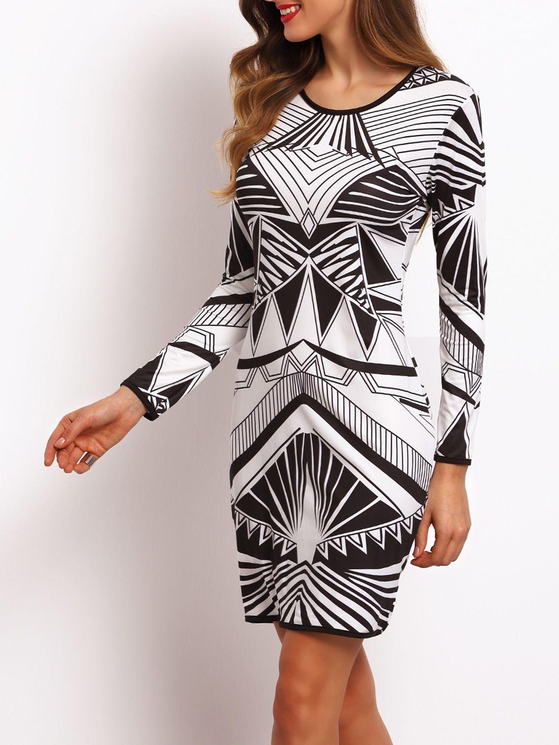 ¡Cómpralo ya!. Geometry Print Sheath Dress. Black and White Elegant Polyester Round Neck Long Sleeve Shift Short Geometric Fall Pencil Dresses. , vestidoinformal, casual, informales, informal, day, kleidcasual, vestidoinformal, robeinformelle, vestitoinformale, día. Vestido informal  de mujer   de SheIn.
