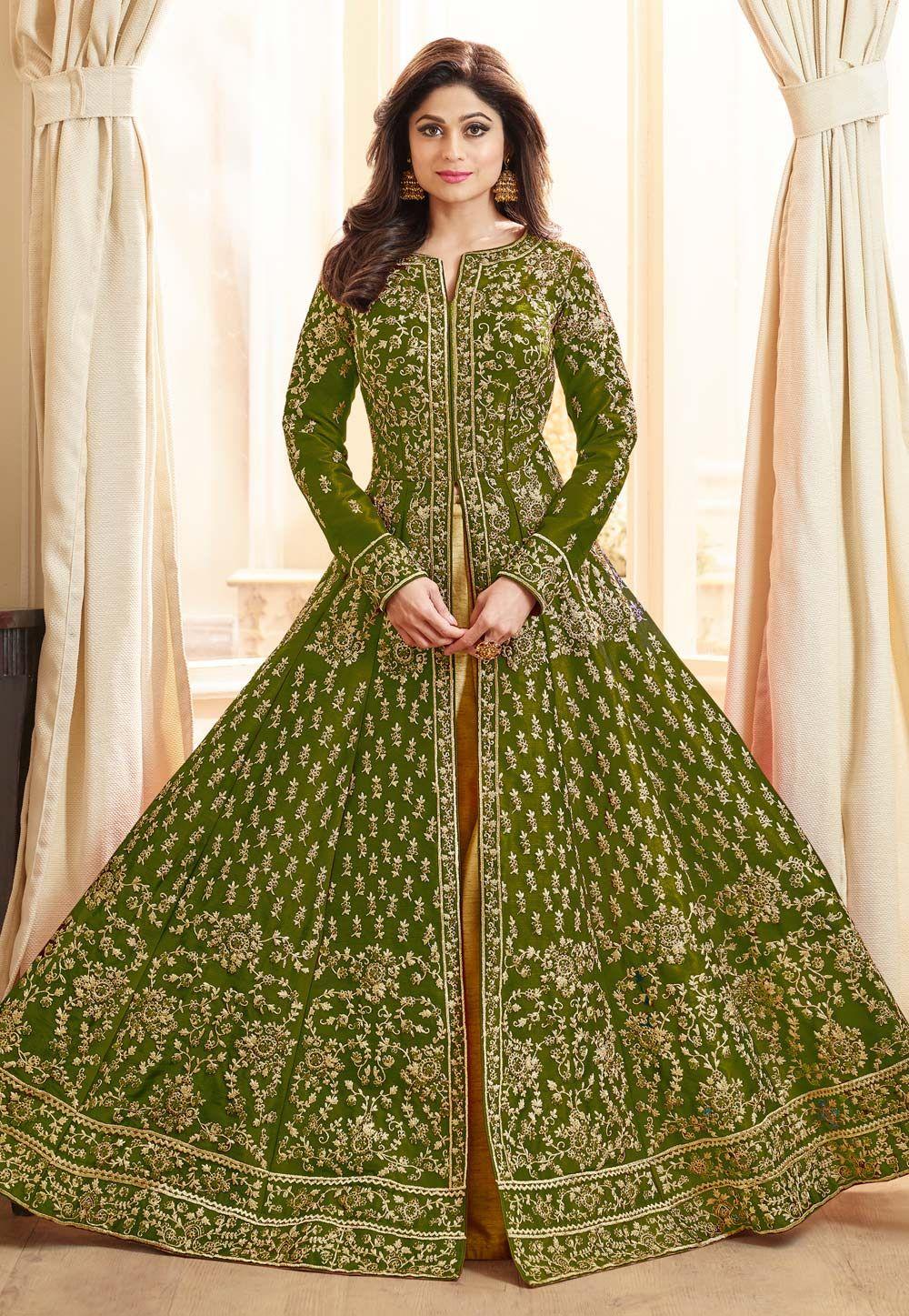 bdfec4bff3 Buy Shamita Shetty Green Silk Indo Western Lehenga Choli 163644 online at  best price from vast collection of Lehenga Choli and Chaniya Choli at ...