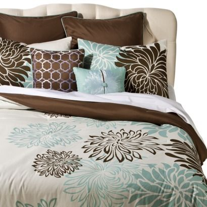 Anya 8 Piece Floral Print Bedding Set   Blue/Brown {Target}