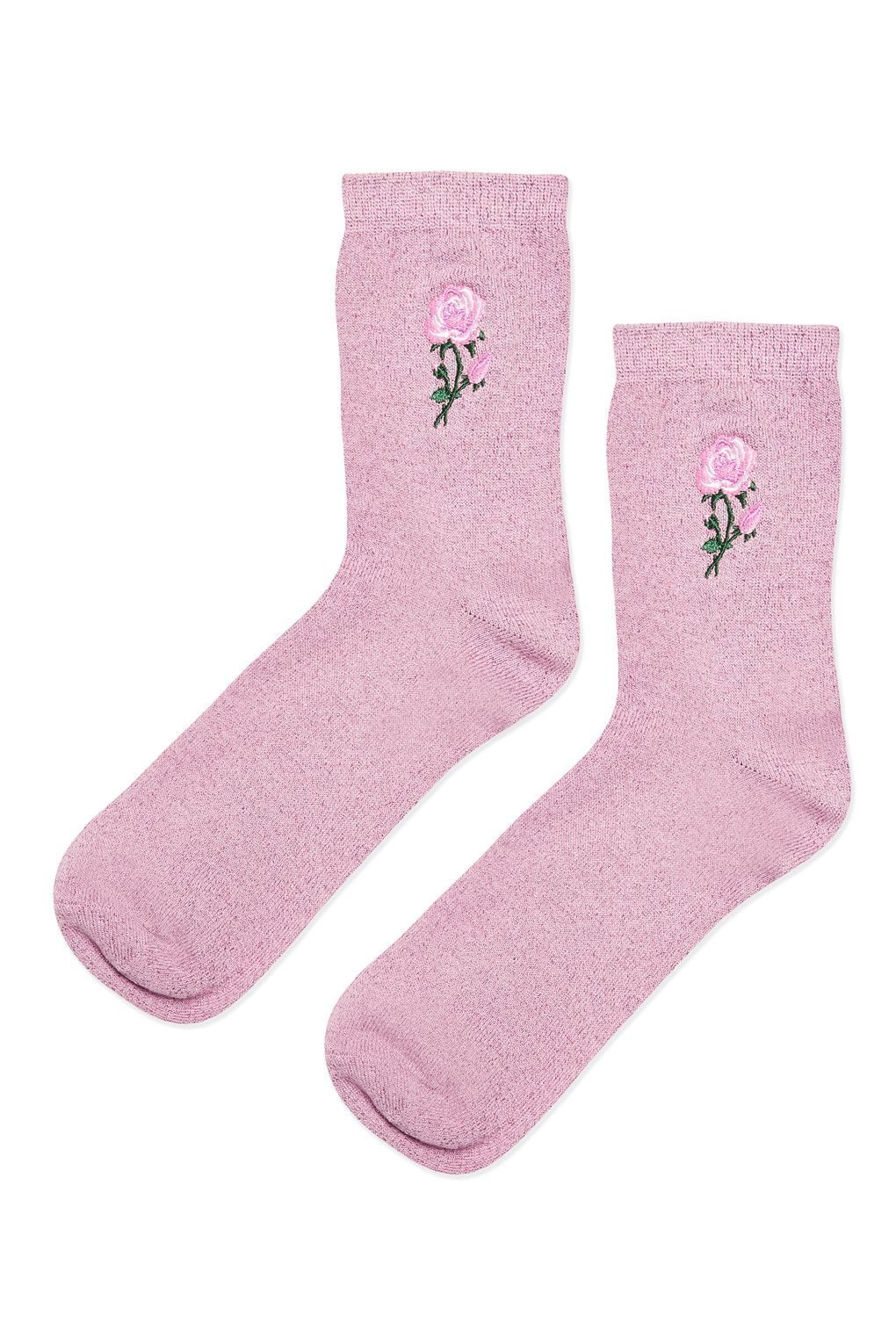 Embroidered Glitter Rose Ankle Socks Topshop Socks Fashion