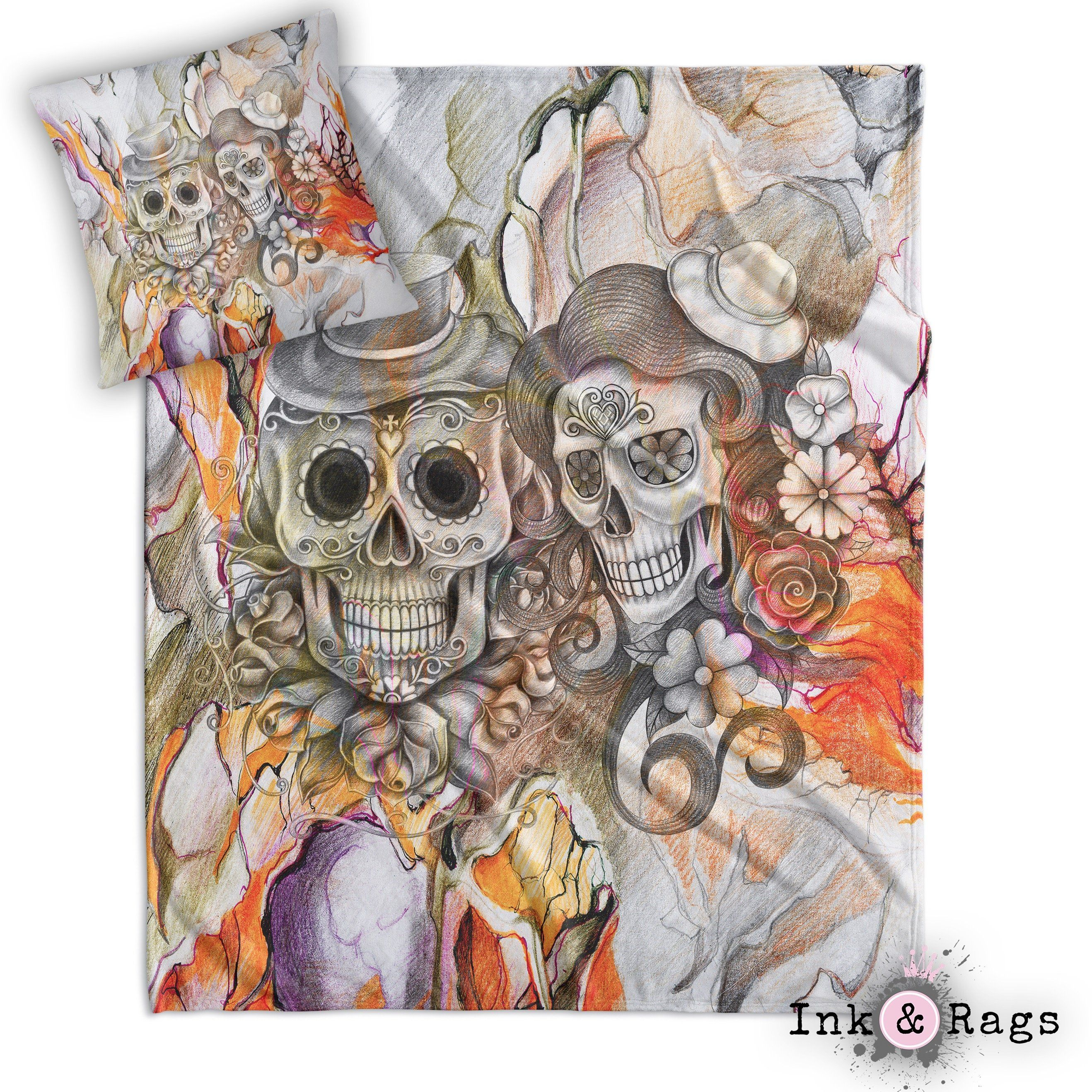 Orange Pencil Sketch Sugar Skull Couple Throw And Pillow