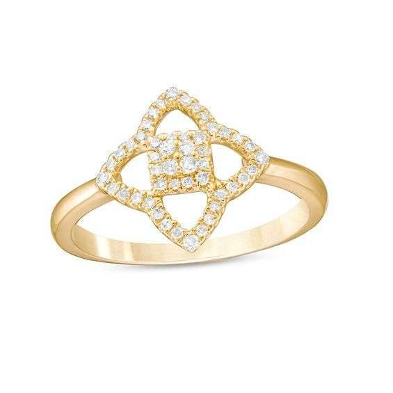 Zales 1/8 CT. T.w. Diamond Lotus Flower Ring in Sterling Silver with 18K Gold Plate S2h3hsOYm2