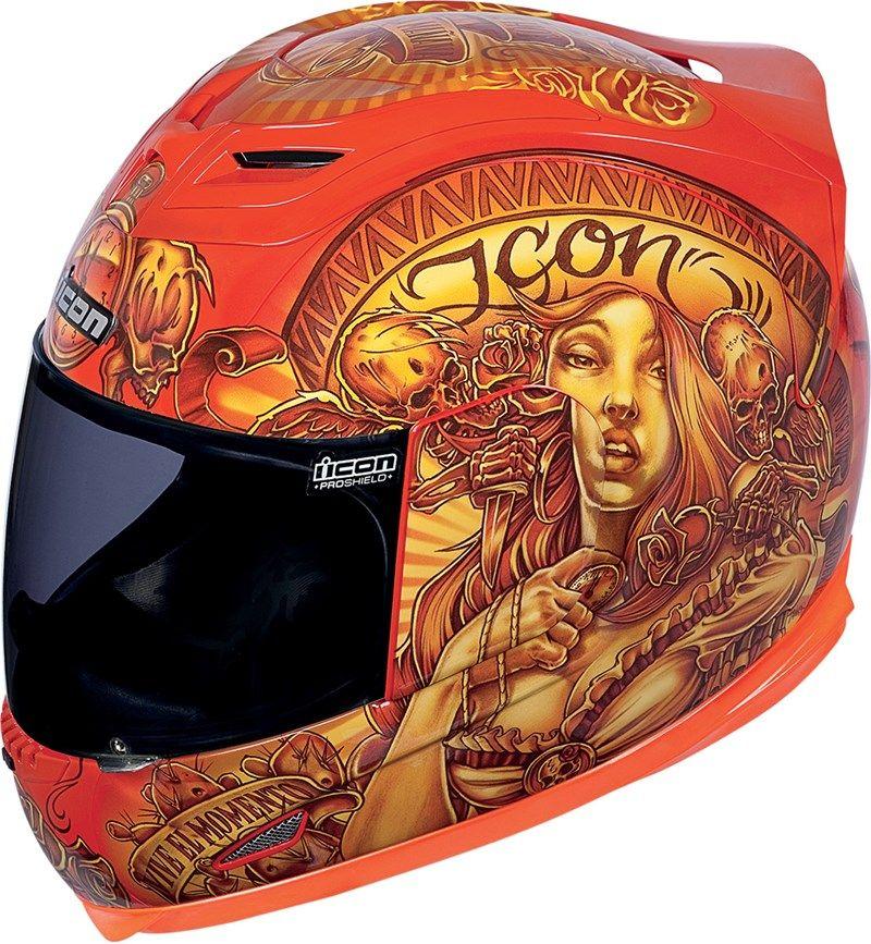 Icon Airframe Vaquero Full Face Motorcycle Helmet Orange