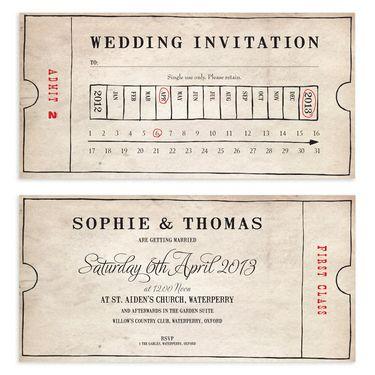 Old Fashioned Bus Ticket Wedding Invitation