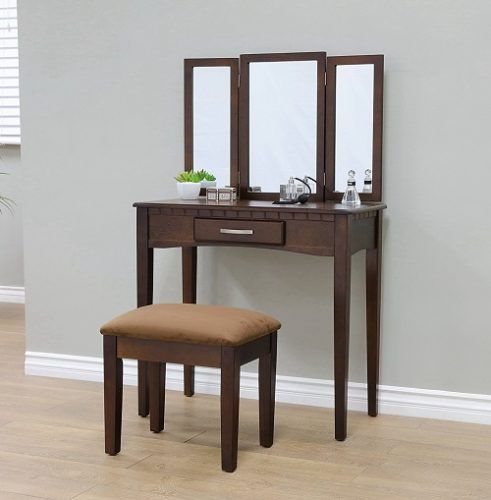 2 Piece Vanity Set With Mirror, Espresso - Cool Gifts For 13 Year ...