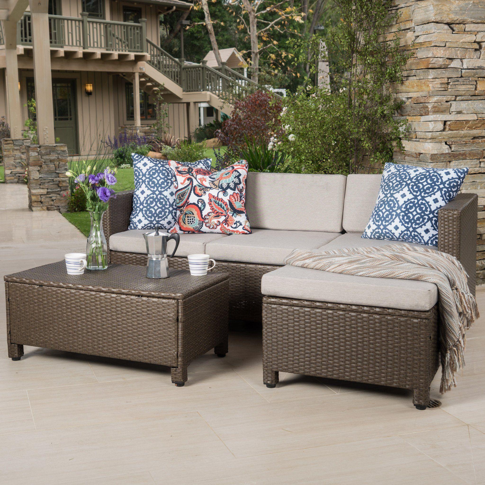 Budva Outdoor L Shape Brown Wicker Sofa W Cushions Porch Furniture Pallet Furniture Outdoor Furniture