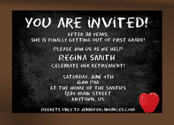 invite wording and sticker idea Retirement Party Pinterest - chalk board invitation template