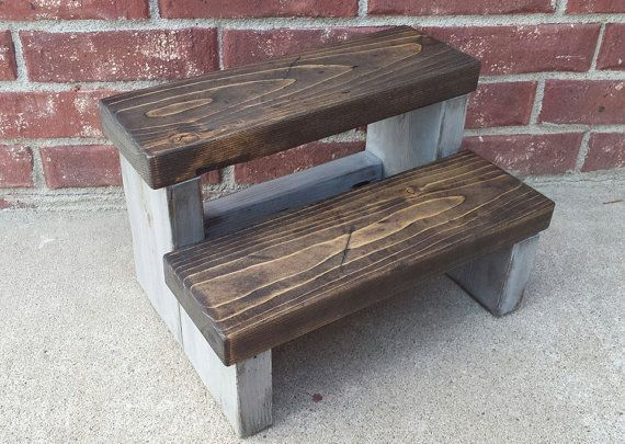 farmhouse gray washed step stool childrens step stool stepstool rustic stool