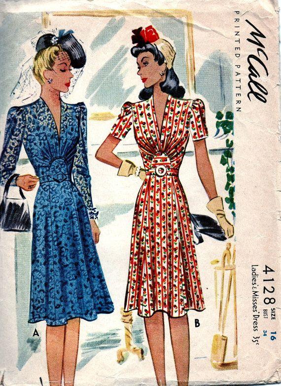 "R133 1940s Vintage Vogue Sewing Pattern B 30/"" Vestido"