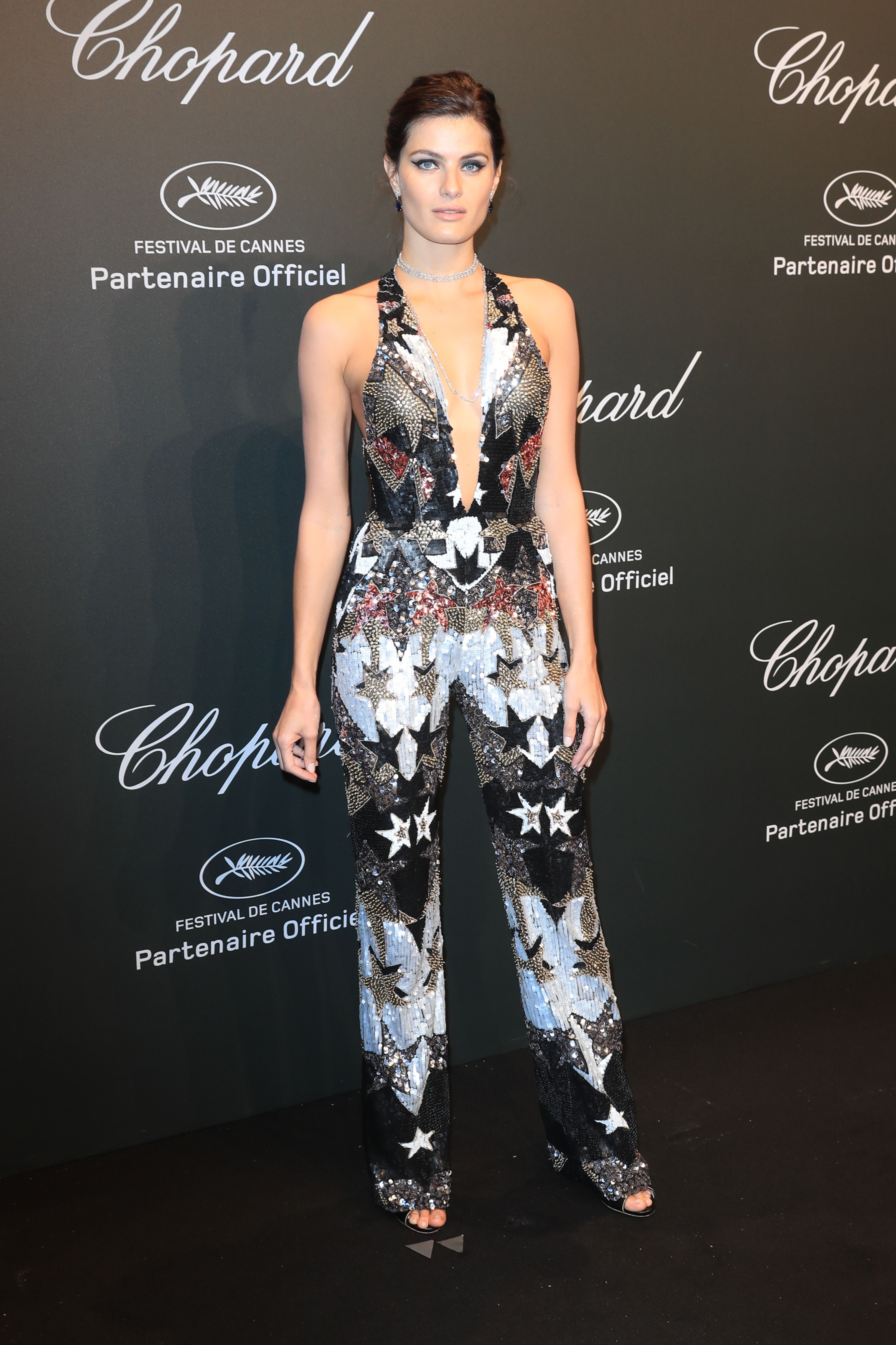 Isabeli Fontana in ELIE SAAB Ready-to-Wear Spring Summer 2017 at the Chopard Party during the 70th annual Cannes Film Festival.