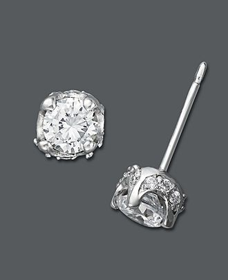 Diamond Earrings 14k White Gold Pave Stud 1 2 Ct