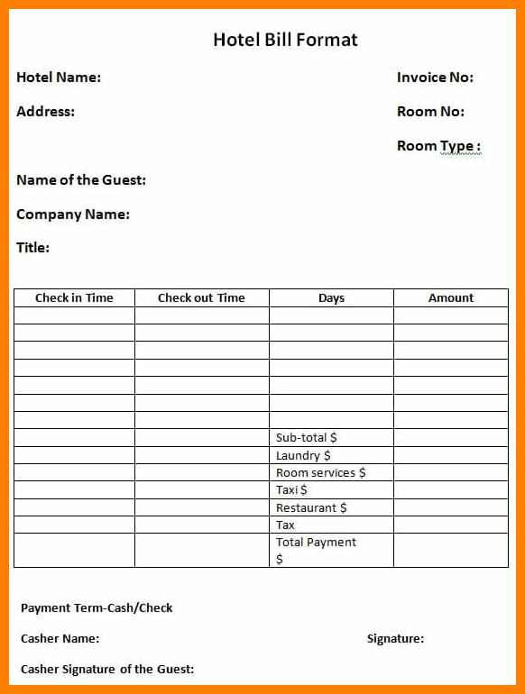 11 Hotel Bill Format In Word Applicationleter Com Invoice Format Budget Spreadsheet Template Receipt Template