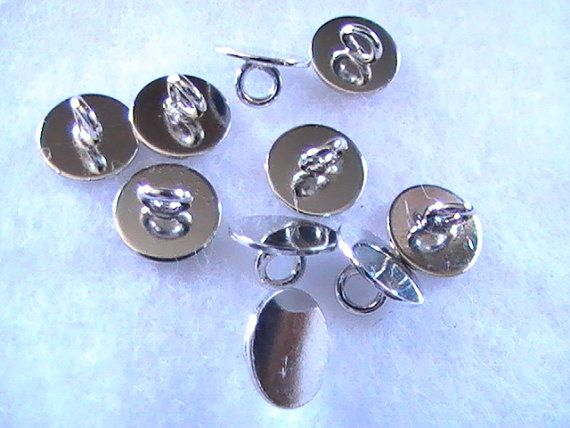 Silver pad ring pendant bail shank button backs 8mm 10pc for Buttons with shanks for jewelry
