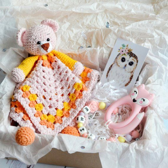 Crochet Security Blanket - Baby Girl Gift Box - Crochet Bear Comforter Blanket - Personalised Baby C #crochetsecurityblanket