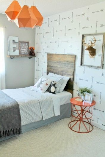Kids Bedroom Accent Wall a diy stenciled accent wall in a rustic boys room using the tribal