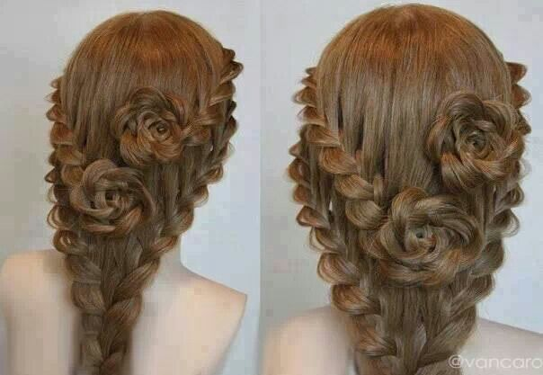 Braided Hair Rosettes Braided Rose Hairstyle Long Hair Styles Hair Styles