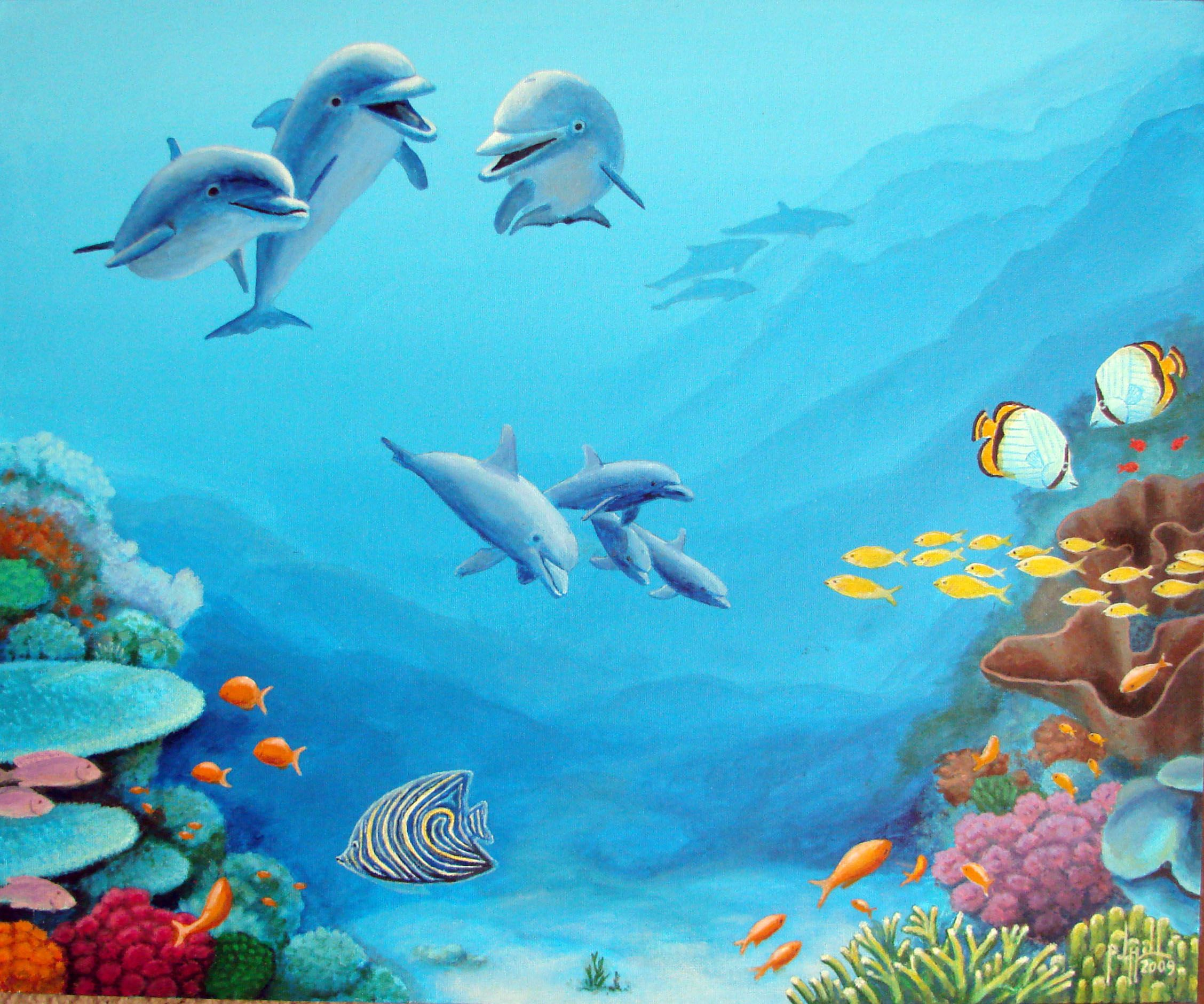 Dolphin Rendezvous, 20x24, $650. Fiji Islands. By Paul Jay ...