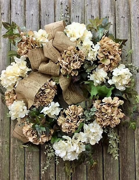 Monogrammed wreath; Brown wreath with hydrangeas Burlap Wreath Fall colors with dark brown burlap with off Everyday white Hydrangeas