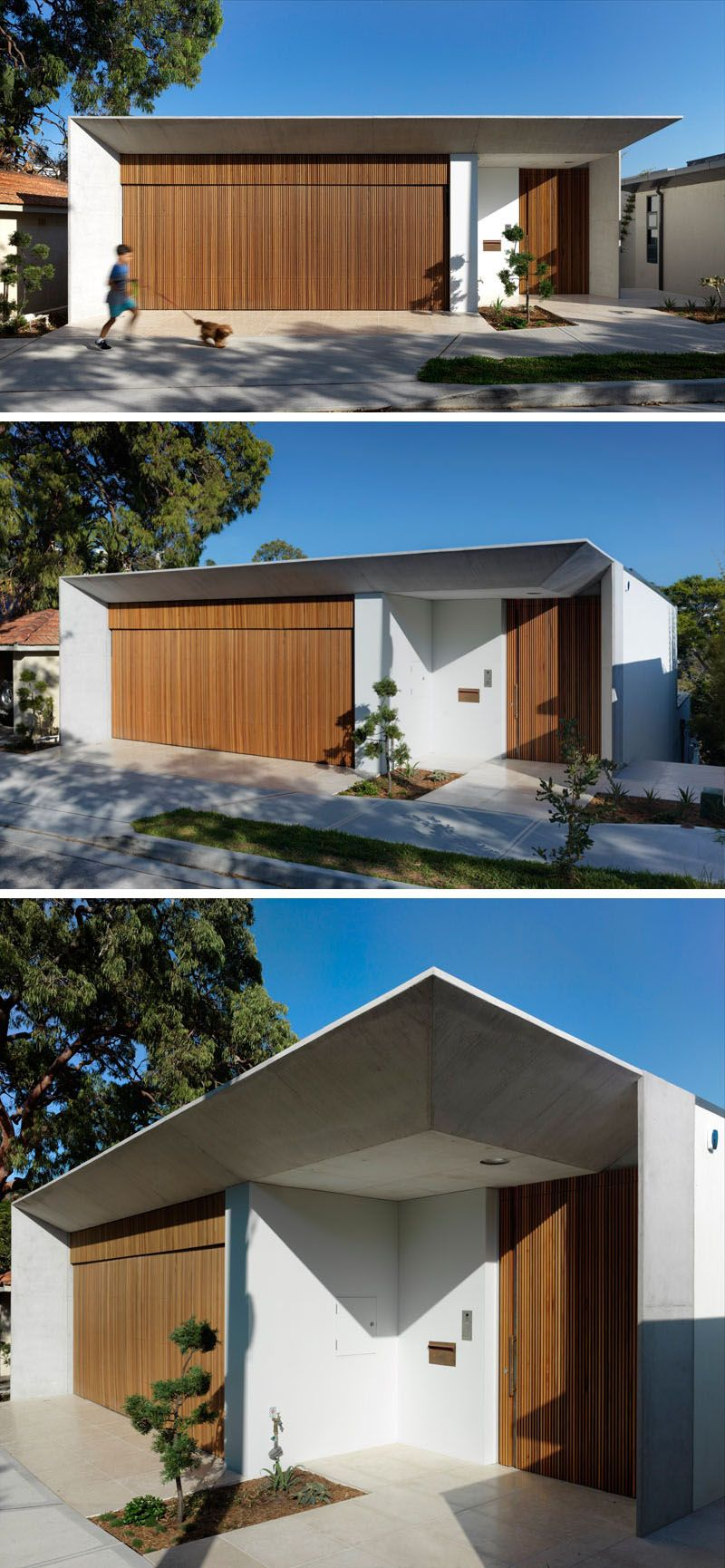 From The Street This Modern House Has A Wood Garage That Matches The Front Door The Front Door Has Been House Front Design Modern House Facades Facade House