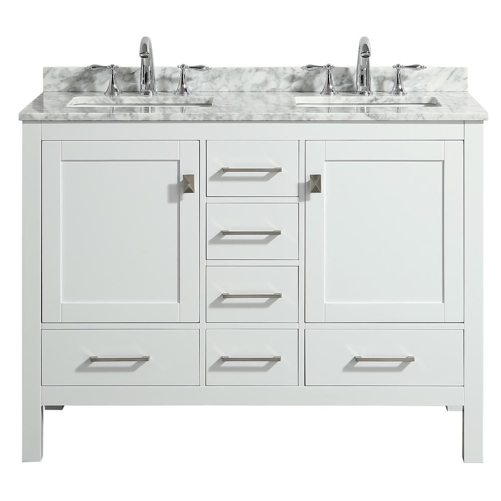 Eviva London 48 In X 18 In Transitional White Bathroom Vanity With White Carrara Marble And Double Porcelain Sinks Tvn414 48x18wh Ds The Home Depot In 2021 White Vanity Bathroom 48 Inch Bathroom 48 x 18 bathroom vanity