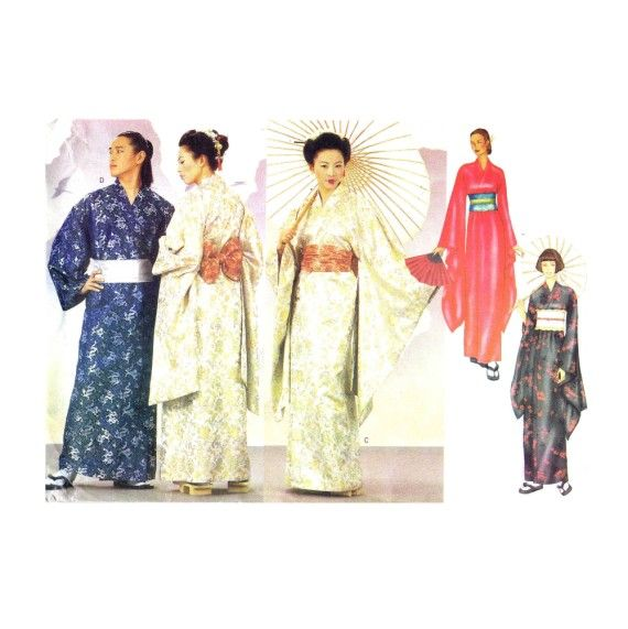 Misses and Mens Japanese Kimono Robe Obi Sash Costume Butterick 6698 ...