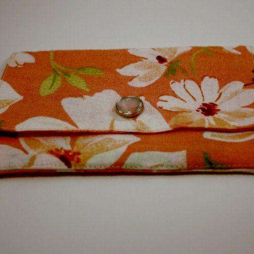 Peach Floral Credit Card Holder/Mini Wallet | blackberrythyme - Bags & Purses on ArtFire