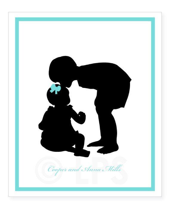 Impresión de la silueta personalizado de tu foto - hermanos - arte de la  pared de vivero - vivero decoración para niño o niña a0f46492f7fab