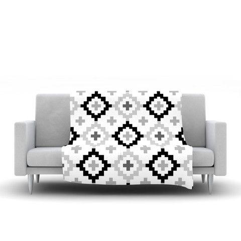 "Pellerina Design ""Black White Moroccan"" Grey Geometric Fleece Throw Bl | KESS InHouse"