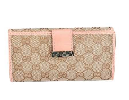 e995157c59c Gucci Continental Wallet with Engraved Logo Detail Pink