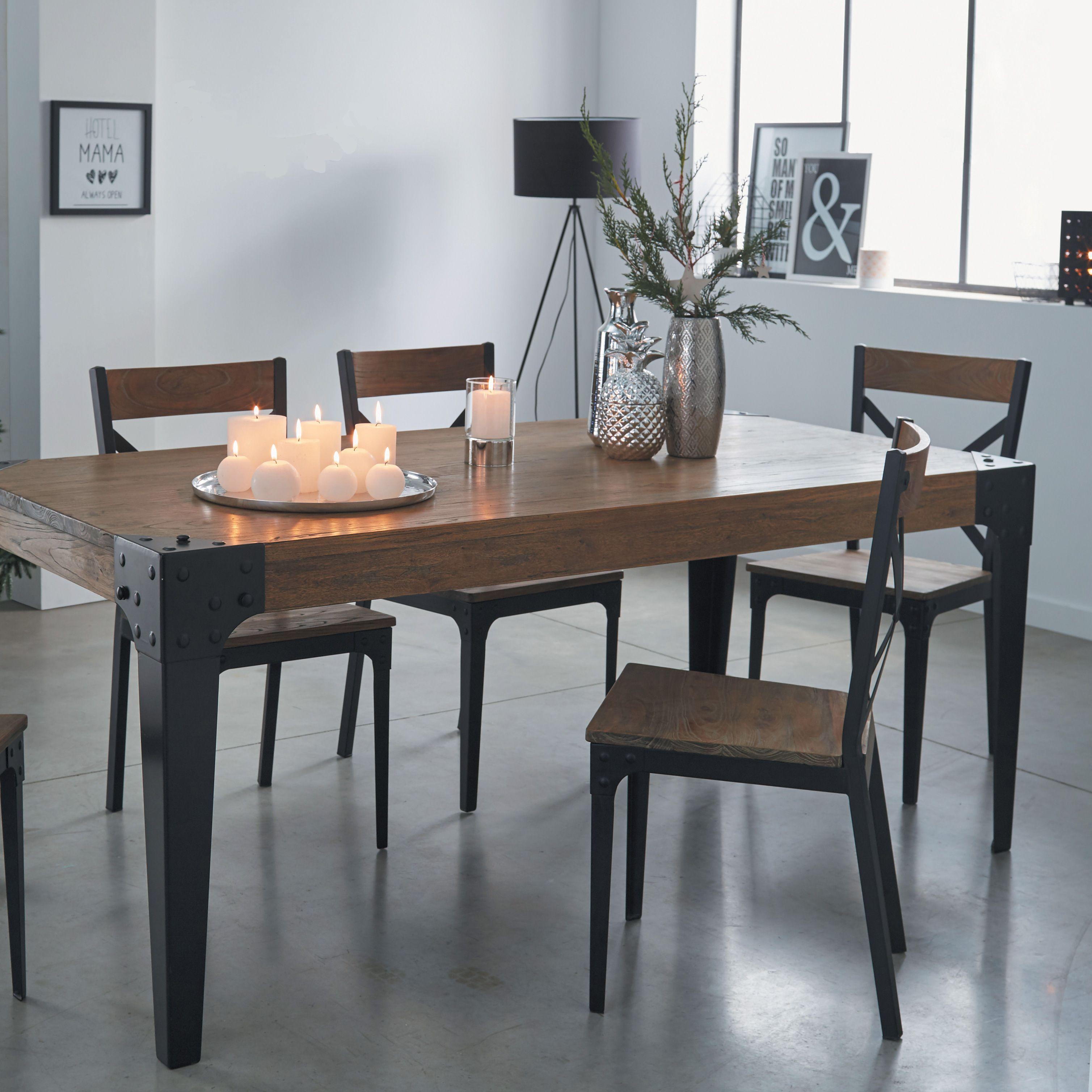 table de repas en orme massif et metal
