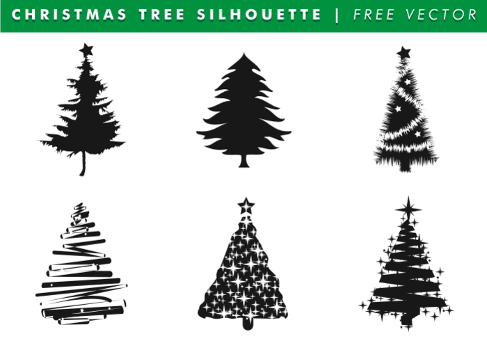 Christmas Tree Silhouettes Free Vector Christmas Tree Silhouette Vector Free Vector Art Design