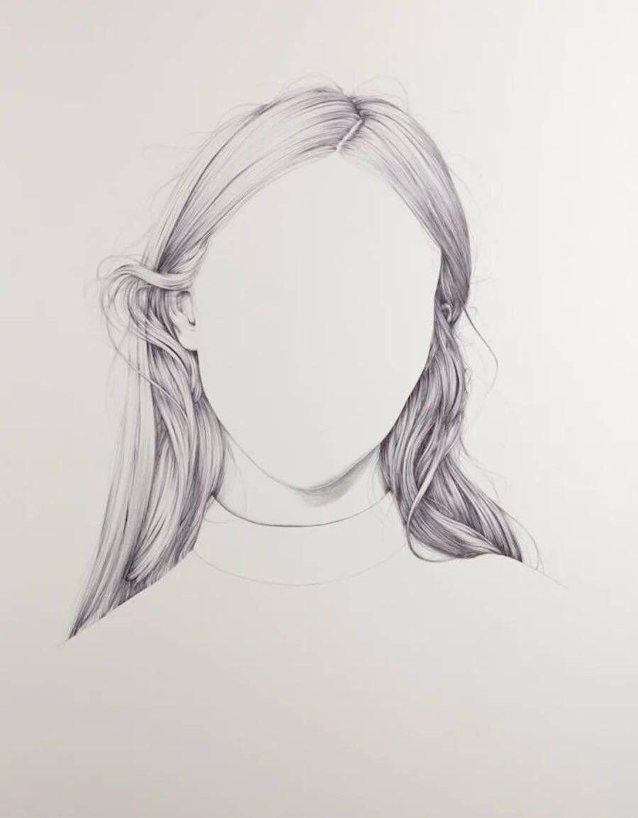 hand drawn illustration black and white woman s hair art